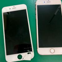 割れているパネル(左)と修理後のiPhone6s(右)